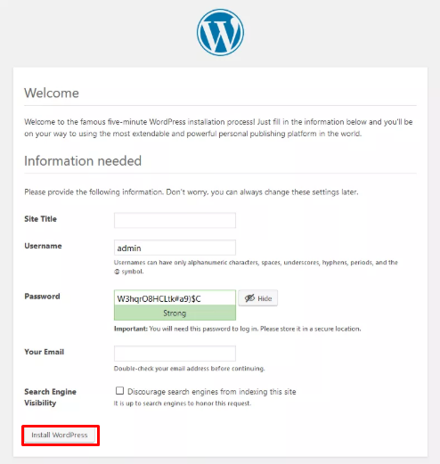 WordPress on WAMP